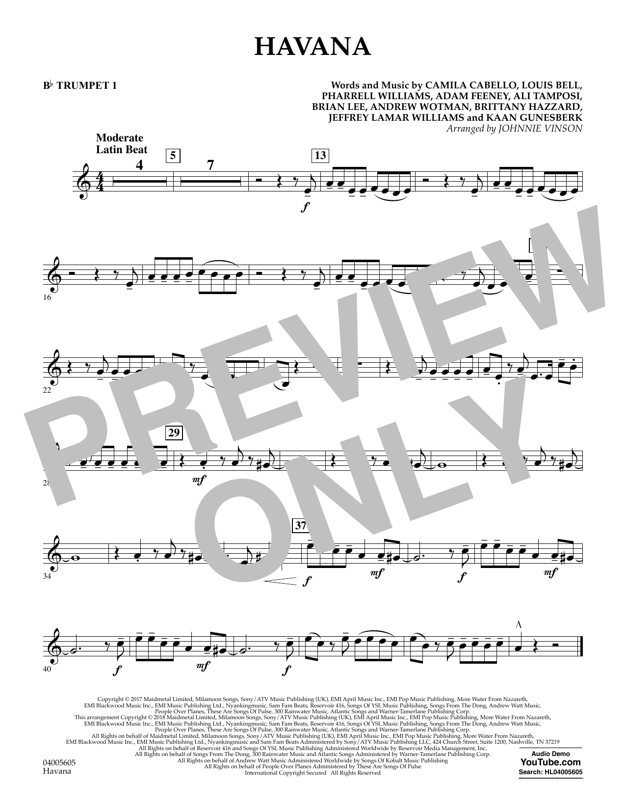 Johnnie Vinson Havana - Bb Trumpet 1 sheet music notes and chords. Download Printable PDF.