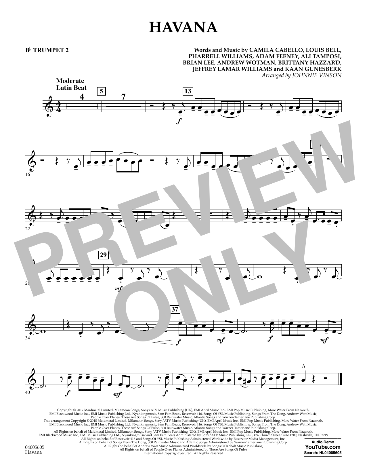 Johnnie Vinson Havana - Bb Trumpet 2 sheet music notes and chords. Download Printable PDF.