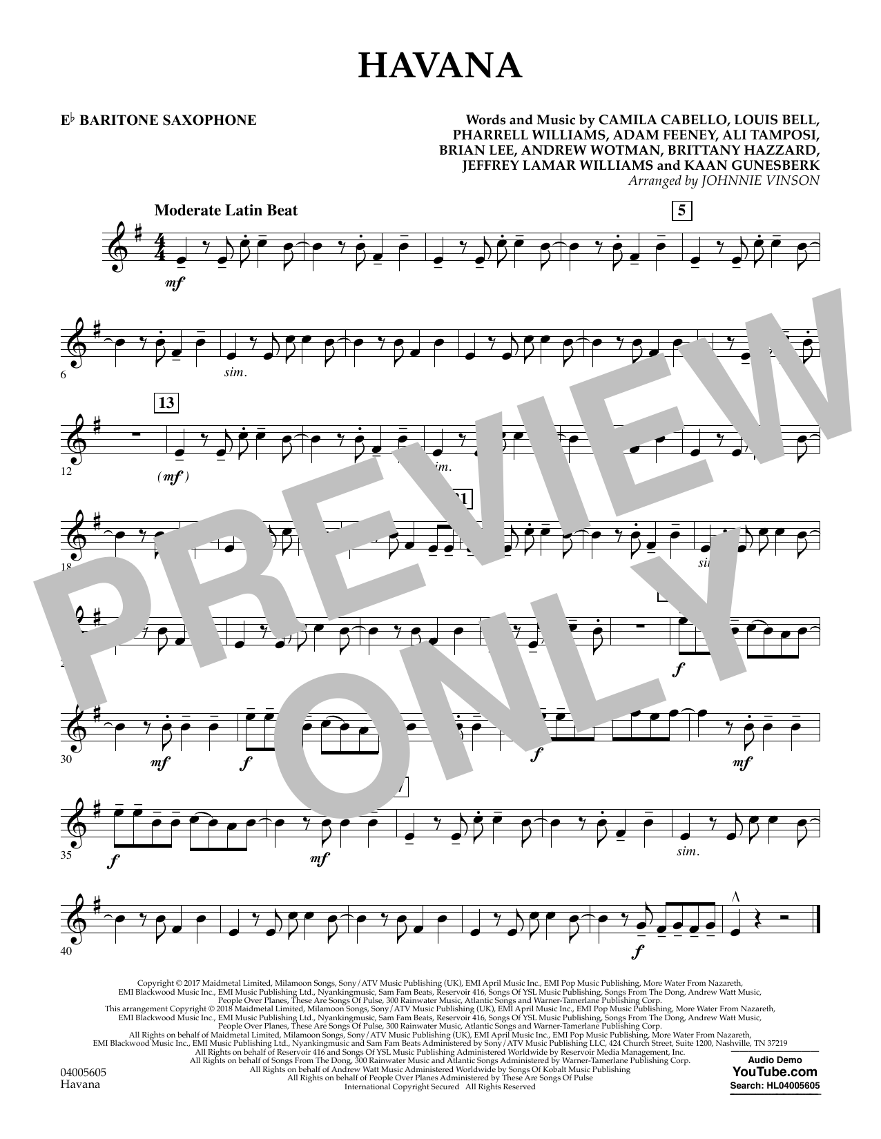 Johnnie Vinson Havana - Eb Baritone Saxophone sheet music notes and chords. Download Printable PDF.