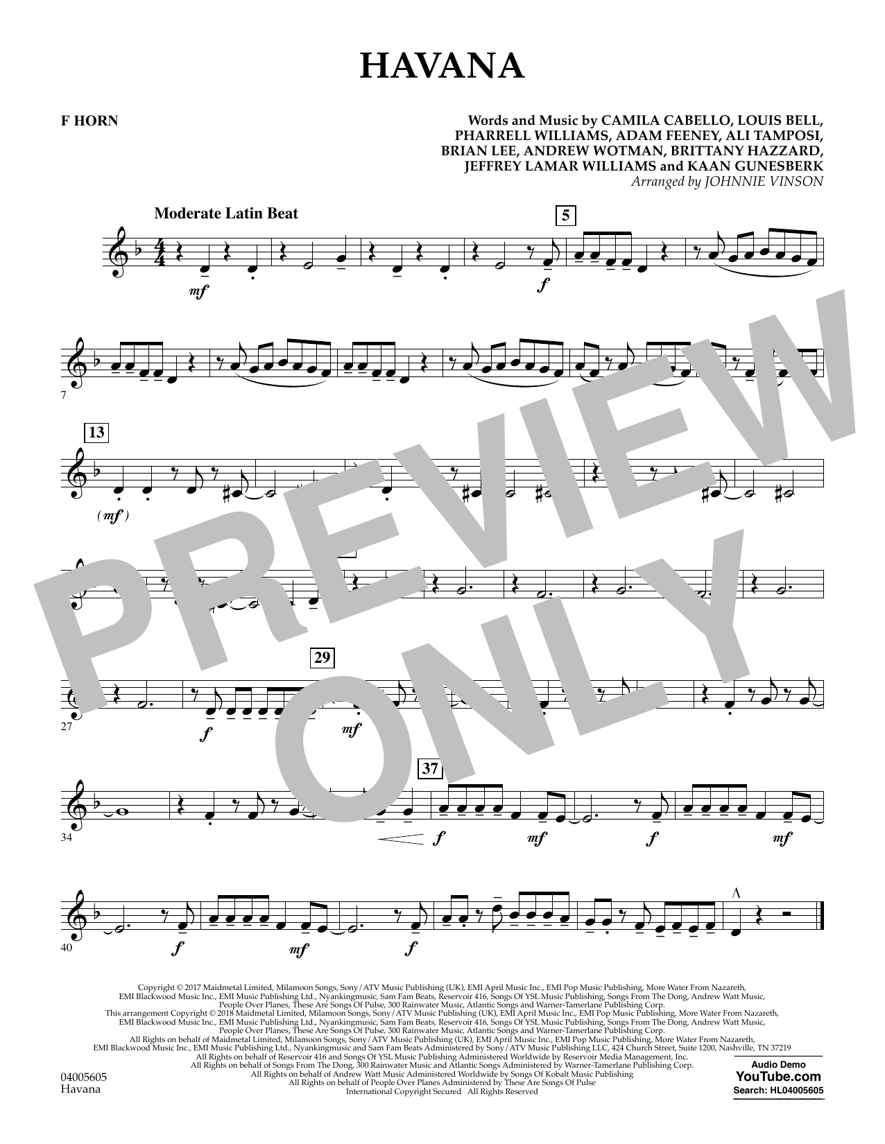 Johnnie Vinson Havana - F Horn sheet music notes and chords. Download Printable PDF.