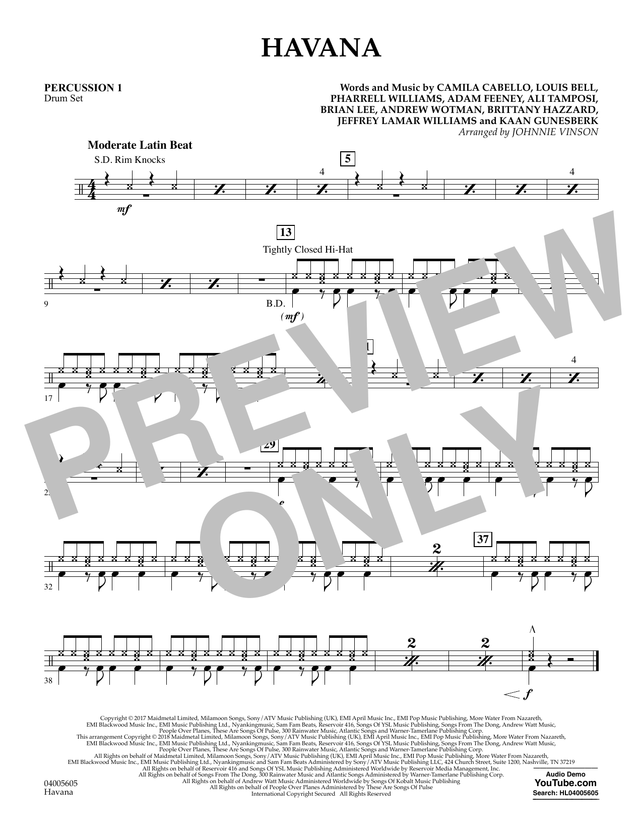 Johnnie Vinson Havana - Percussion 1 sheet music notes and chords. Download Printable PDF.