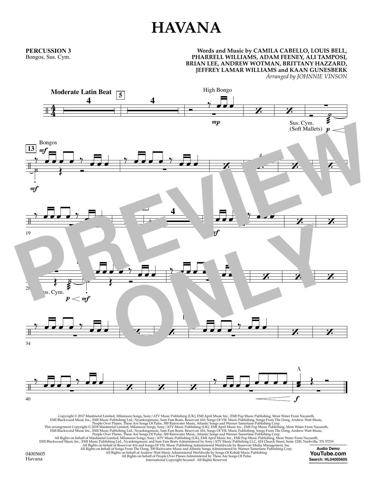 Johnnie Vinson Havana - Percussion 3 sheet music notes and chords. Download Printable PDF.