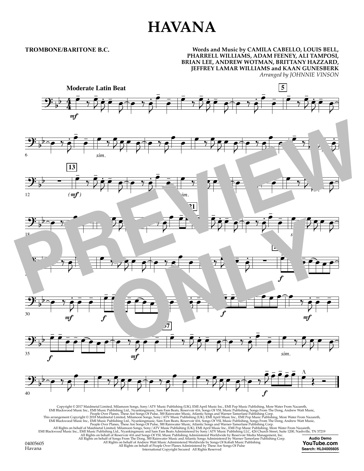Johnnie Vinson Havana - Trombone/Baritone B.C. sheet music notes and chords. Download Printable PDF.