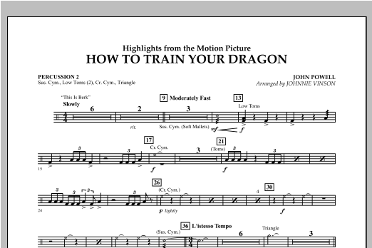 Johnnie Vinson Highlights from How To Train Your Dragon - Percussion 2 sheet music notes and chords. Download Printable PDF.