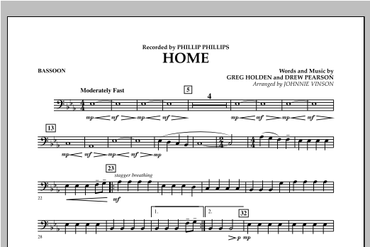 Johnnie Vinson Home - Bassoon sheet music notes and chords. Download Printable PDF.
