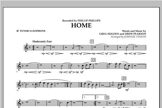 Johnnie Vinson Home - Bb Tenor Saxophone sheet music notes and chords. Download Printable PDF.