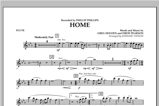 Johnnie Vinson Home - Flute sheet music notes and chords. Download Printable PDF.