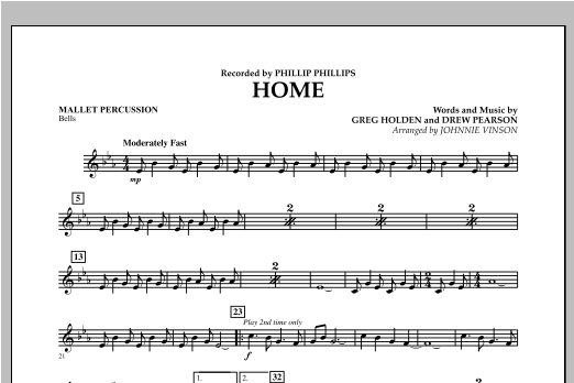 Johnnie Vinson Home - Mallet Percussion sheet music notes and chords. Download Printable PDF.