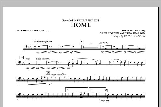 Johnnie Vinson Home - Trombone/Baritone B.C. sheet music notes and chords. Download Printable PDF.