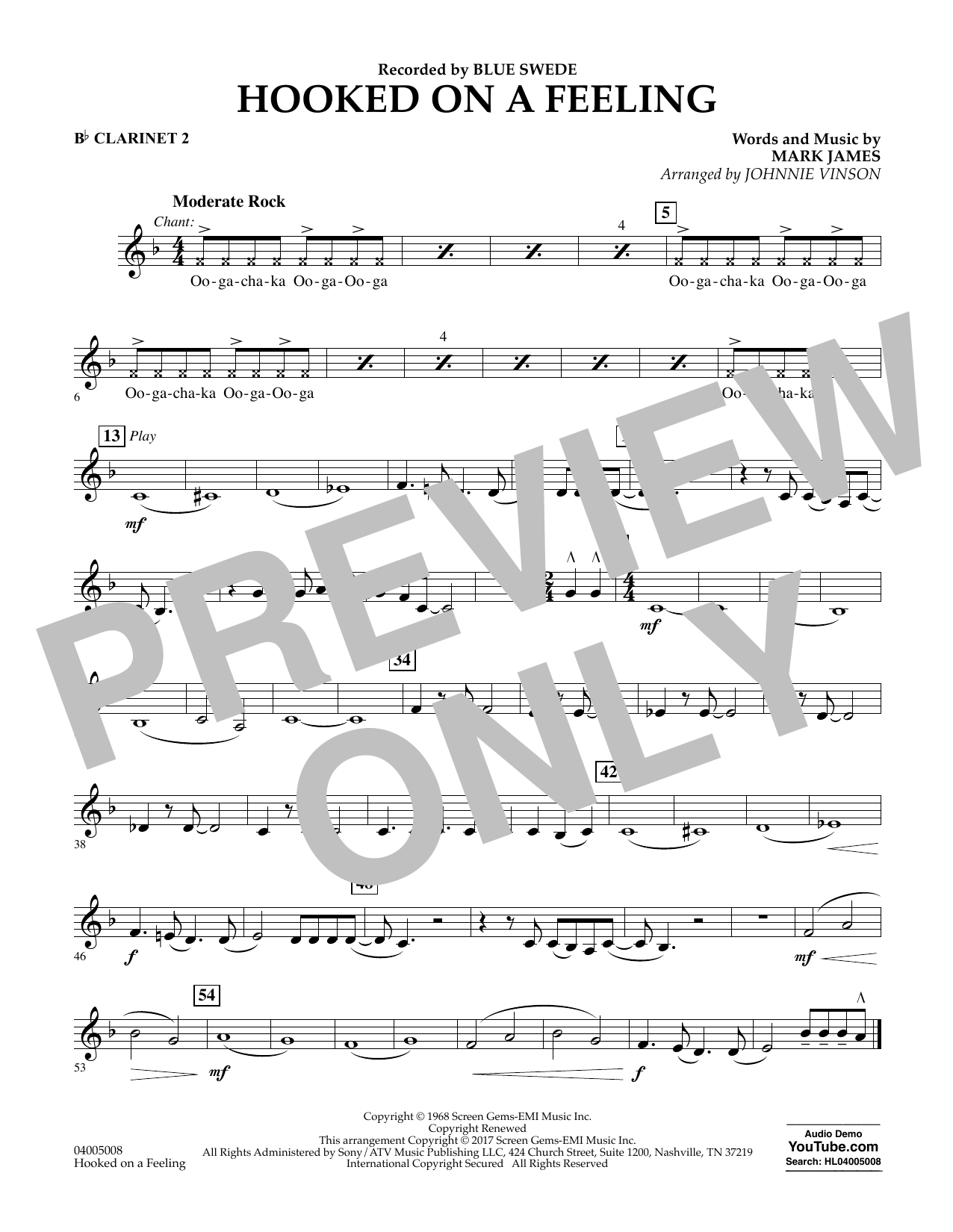 Johnnie Vinson Hooked on a Feeling - Bb Clarinet 2 sheet music notes and chords. Download Printable PDF.