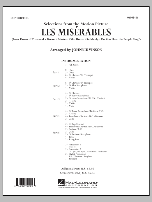 Johnnie Vinson Les Miserables (Selections from the Motion Picture) - Conductor Score (Full Score) sheet music notes and chords. Download Printable PDF.