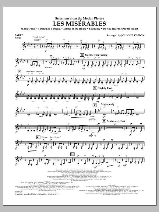 Johnnie Vinson Les Miserables (Selections from the Motion Picture) - Pt.3 - Violin sheet music notes and chords. Download Printable PDF.