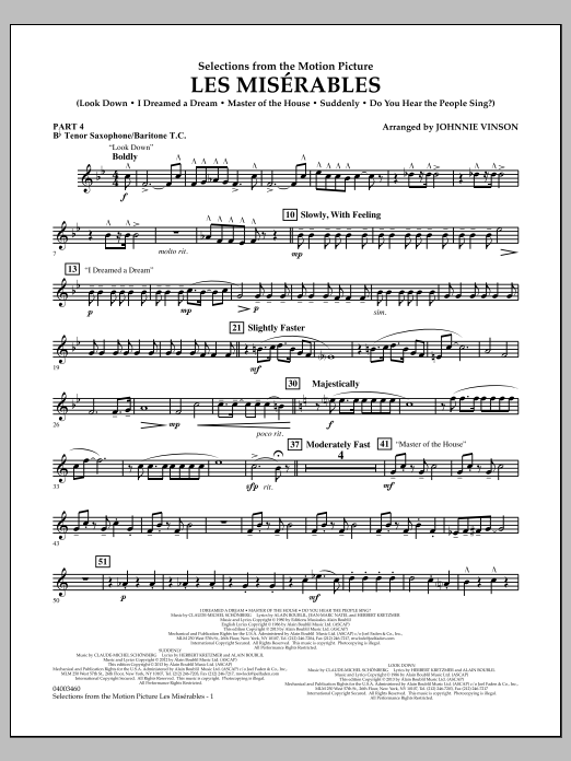 Johnnie Vinson Les Miserables (Selections from the Motion Picture) - Pt.4 - Bb Tenor Sax/Bar. T.C. sheet music notes and chords. Download Printable PDF.