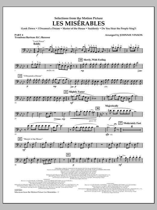 Johnnie Vinson Les Miserables (Selections from the Motion Picture) - Pt.4 - Trombone/Bar. B.C./Bsn. sheet music notes and chords. Download Printable PDF.