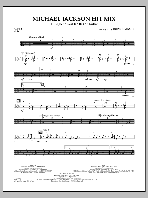 Johnnie Vinson Michael Jackson Hit Mix - Pt.3 - Viola sheet music notes and chords. Download Printable PDF.