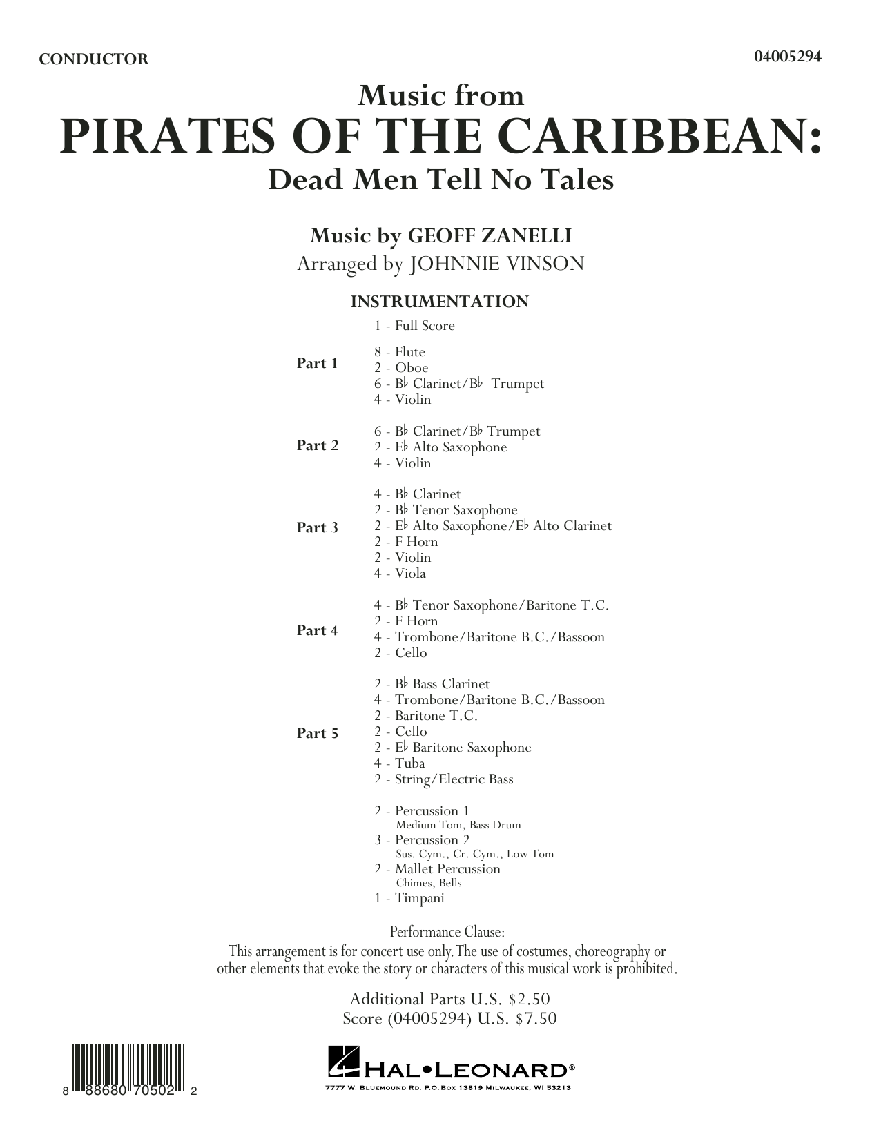 Johnnie Vinson Music from Pirates of the Caribbean: Dead Men Tell No Tales - Conductor Score (Full Score) sheet music notes and chords. Download Printable PDF.