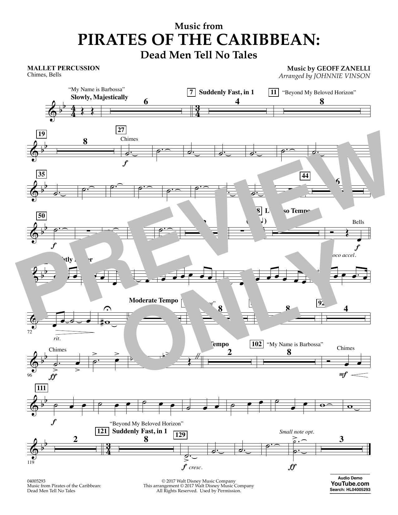 Johnnie Vinson Music from Pirates of the Caribbean: Dead Men Tell No Tales - Mallet Percussion sheet music notes and chords. Download Printable PDF.