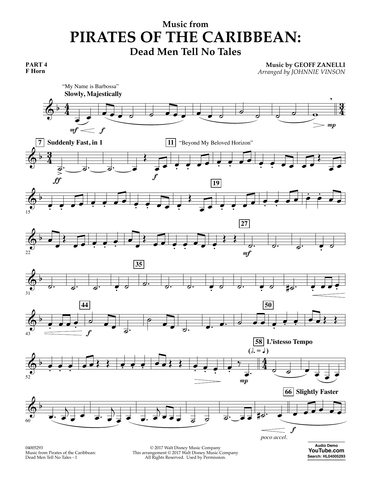 Johnnie Vinson Music from Pirates of the Caribbean: Dead Men Tell No Tales - Pt.4 - F Horn sheet music notes and chords. Download Printable PDF.