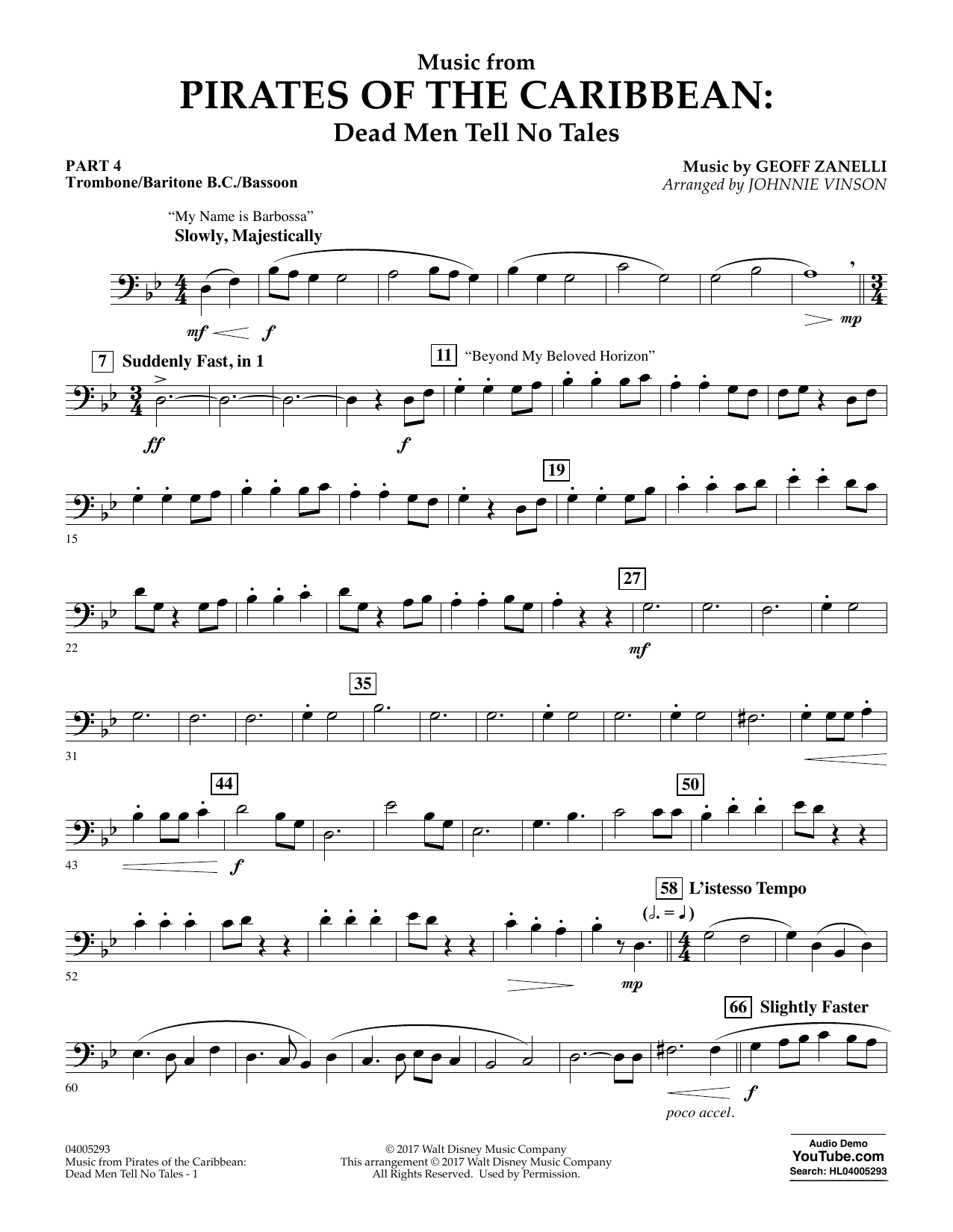 Johnnie Vinson Music from Pirates of the Caribbean: Dead Men Tell No Tales - Pt.4 - Trombone/Bar. B.C./Bsn. sheet music notes and chords. Download Printable PDF.