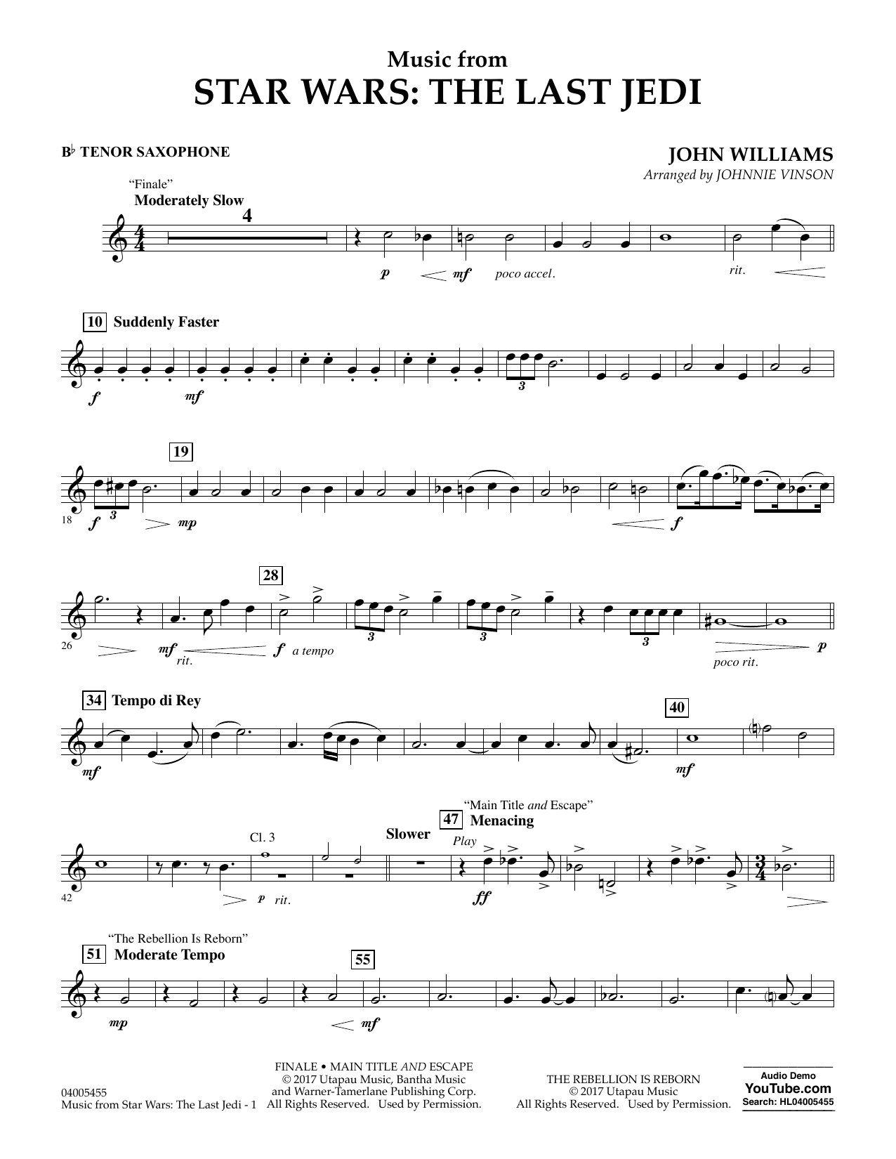 Johnnie Vinson Music from Star Wars: The Last Jedi - Bb Tenor Saxophone sheet music notes and chords. Download Printable PDF.