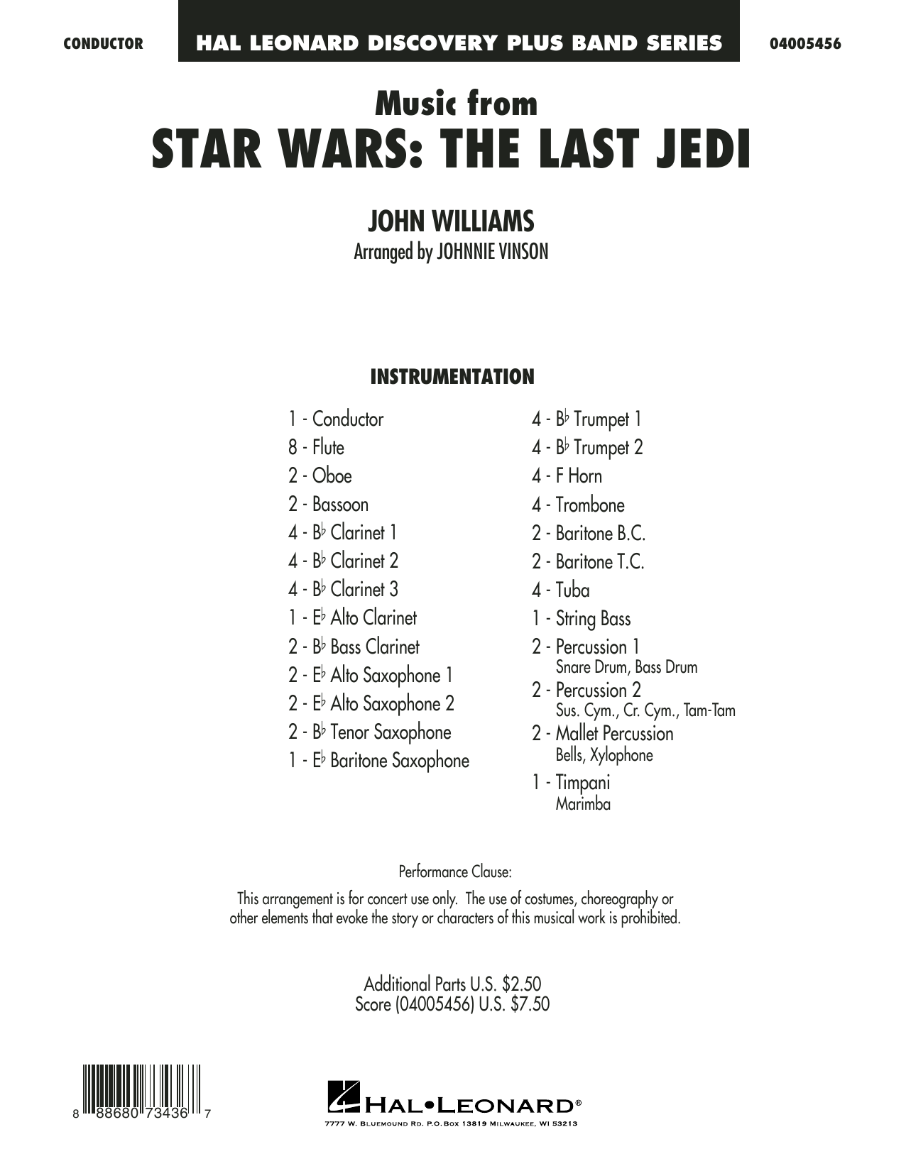 Johnnie Vinson Music from Star Wars: The Last Jedi - Conductor Score (Full Score) sheet music notes and chords. Download Printable PDF.