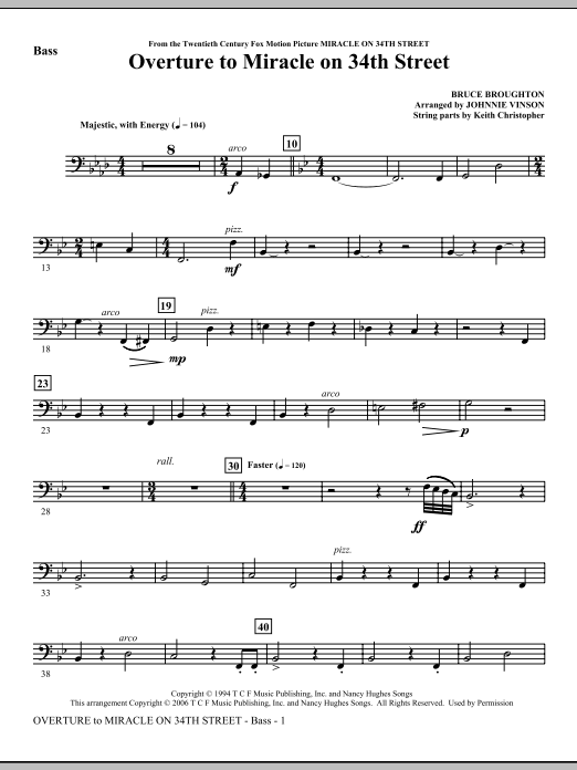 Johnnie Vinson Overture to Miracle On 34th Street - Bass sheet music notes and chords. Download Printable PDF.