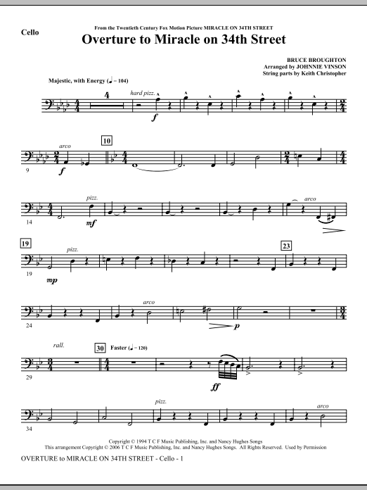 Johnnie Vinson Overture to Miracle On 34th Street - Cello sheet music notes and chords. Download Printable PDF.