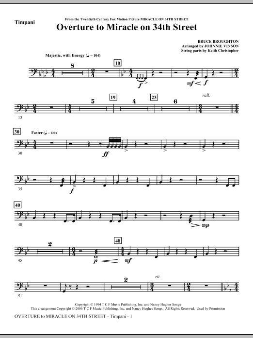 Johnnie Vinson Overture to Miracle On 34th Street - Timpani sheet music notes and chords. Download Printable PDF.