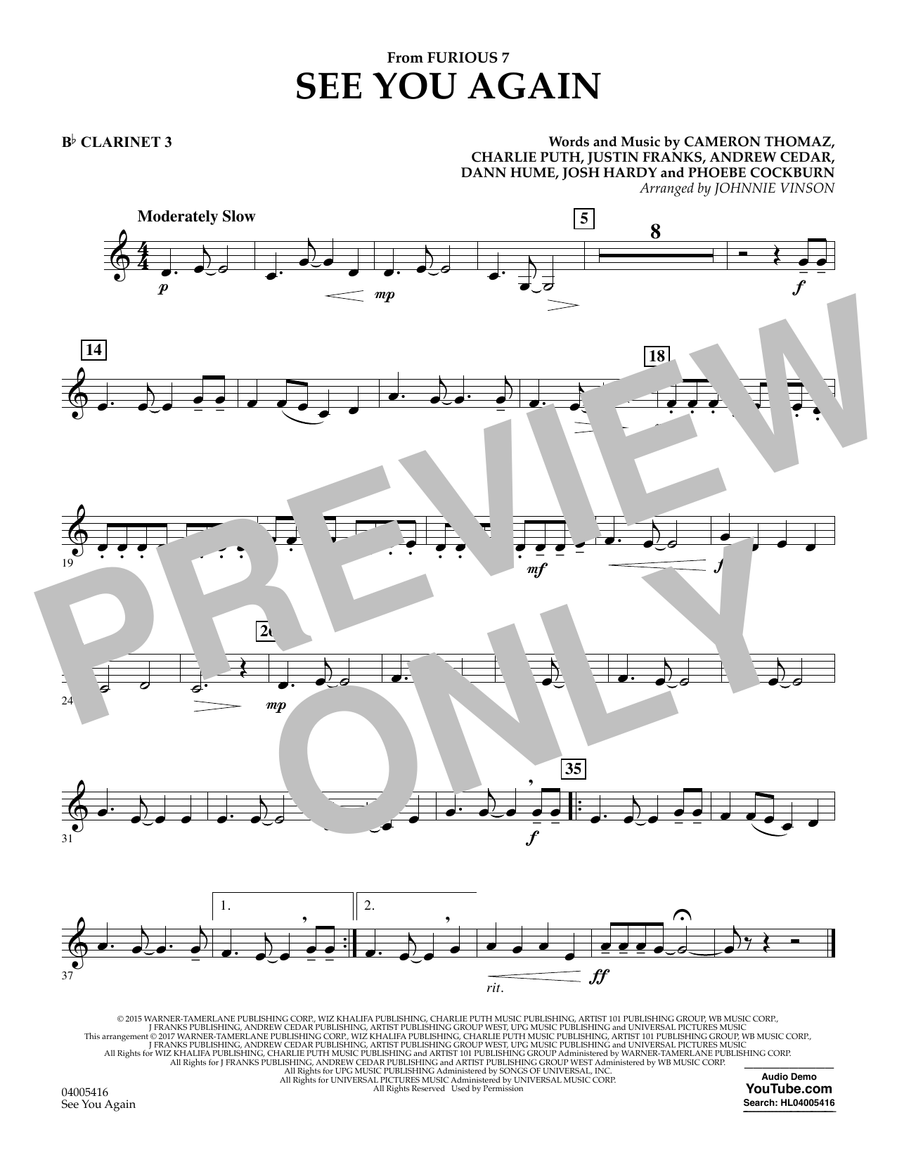 photo regarding Free Printable Clarinet Sheet Music identified as Johnnie Vinson Check out Yourself Back - Bb Clarinet 3 Sheet Tunes Notes, Chords  Down load Printable Live performance Band - SKU: 375786