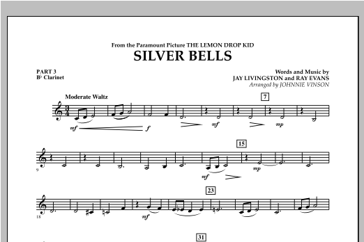 Johnnie Vinson Silver Bells - Pt.3 - Bb Clarinet sheet music notes and chords. Download Printable PDF.