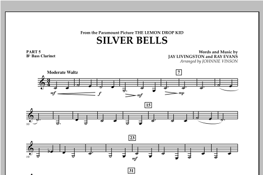 Johnnie Vinson Silver Bells - Pt.5 - Bb Bass Clarinet sheet music notes and chords. Download Printable PDF.