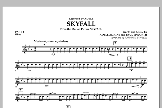 Johnnie Vinson Skyfall - Pt.1 - Oboe sheet music notes and chords. Download Printable PDF.