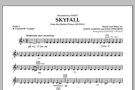 Johnnie Vinson Skyfall - Pt.2 - Bb Clarinet/Bb Trumpet sheet music notes and chords. Download Printable PDF.