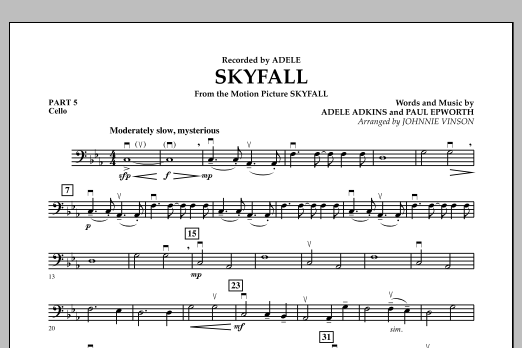 Johnnie Vinson Skyfall - Pt.5 - Cello sheet music notes and chords. Download Printable PDF.