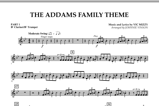 Johnnie Vinson The Addams Family Theme - Pt.1 - Bb Clarinet/Bb Trumpet sheet music notes and chords. Download Printable PDF.