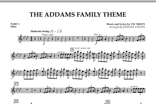 Johnnie Vinson The Addams Family Theme - Pt.1 - Oboe sheet music notes and chords. Download Printable PDF.