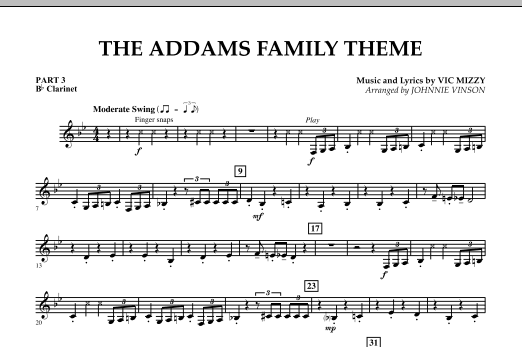 Johnnie Vinson The Addams Family Theme - Pt.3 - Bb Clarinet sheet music notes and chords. Download Printable PDF.