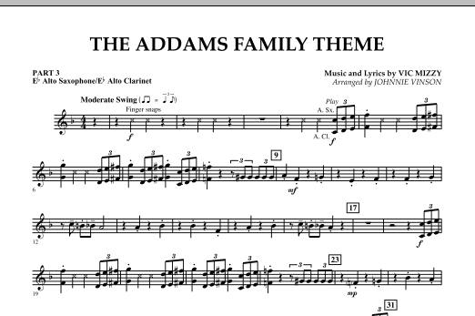 Johnnie Vinson The Addams Family Theme - Pt.3 - Eb Alto Sax/Alto Clar. sheet music notes and chords. Download Printable PDF.