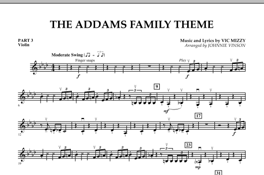 Johnnie Vinson The Addams Family Theme - Pt.3 - Violin sheet music notes and chords. Download Printable PDF.