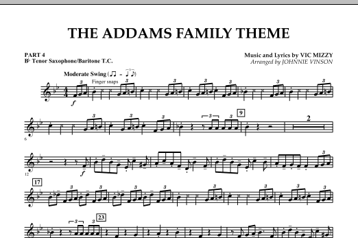 Johnnie Vinson The Addams Family Theme - Pt.4 - Bb Tenor Sax/Bar. T.C. sheet music notes and chords. Download Printable PDF.