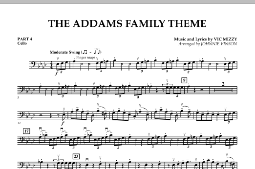 Johnnie Vinson The Addams Family Theme - Pt.4 - Cello sheet music notes and chords. Download Printable PDF.