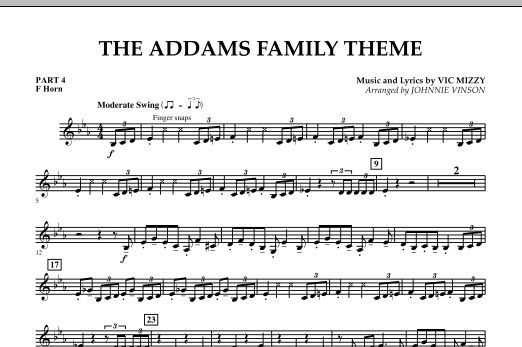 Johnnie Vinson The Addams Family Theme - Pt.4 - F Horn sheet music notes and chords. Download Printable PDF.