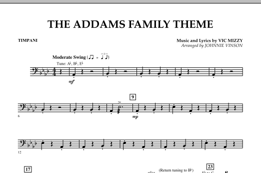 Johnnie Vinson The Addams Family Theme - Timpani sheet music notes and chords. Download Printable PDF.