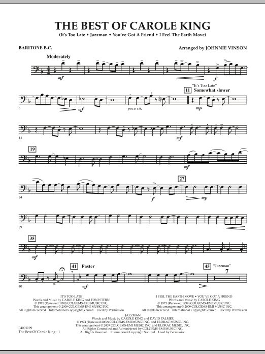 Johnnie Vinson The Best of Carole King - Baritone B.C. sheet music notes and chords