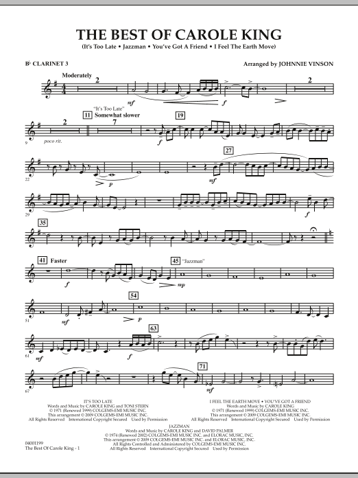 Johnnie Vinson The Best of Carole King - Bb Clarinet 3 sheet music notes and chords. Download Printable PDF.