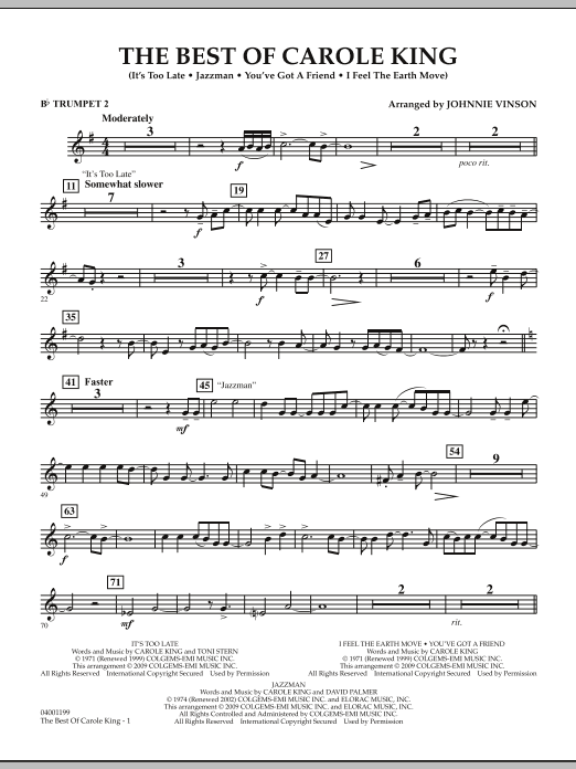 Johnnie Vinson The Best of Carole King - Bb Trumpet 2 sheet music notes and chords