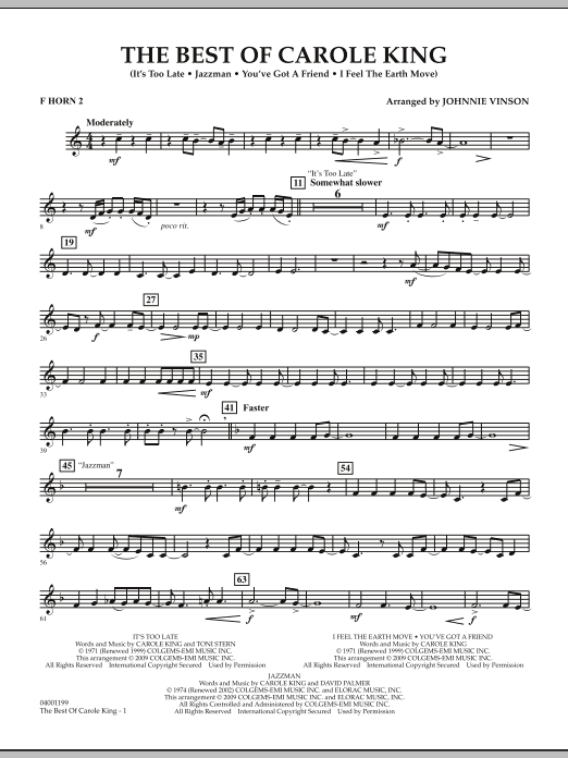 Johnnie Vinson The Best of Carole King - F Horn 2 sheet music notes and chords