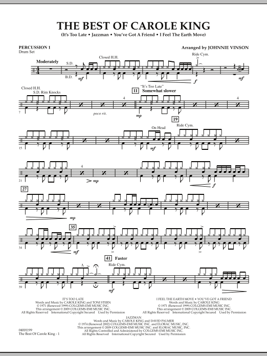 Johnnie Vinson The Best of Carole King - Percussion 1 sheet music notes and chords
