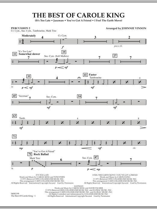 Johnnie Vinson The Best of Carole King - Percussion 2 sheet music notes and chords