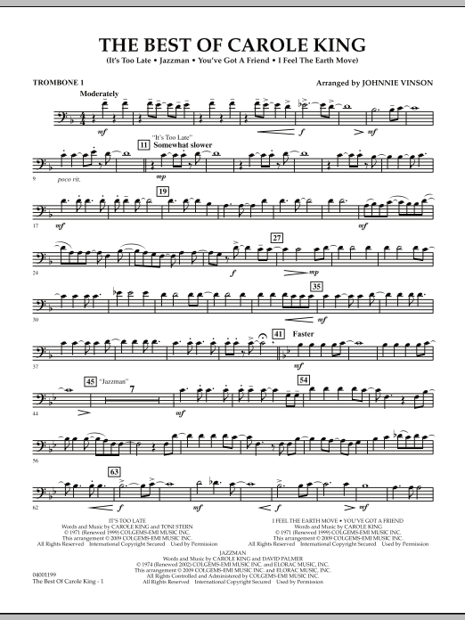 Johnnie Vinson The Best of Carole King - Trombone 1 sheet music notes and chords